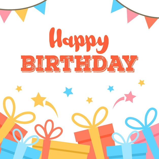 Happy birthday card. colorful flags garland composition. Free Vector