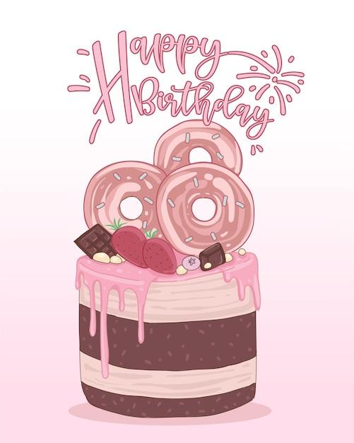 Открытка с днем рождения, украшенная картинками с тортом Бесплатные векторы