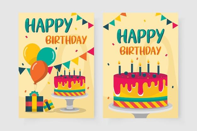 케이크 사진으로 장식 된 생일 축하 카드 무료 벡터