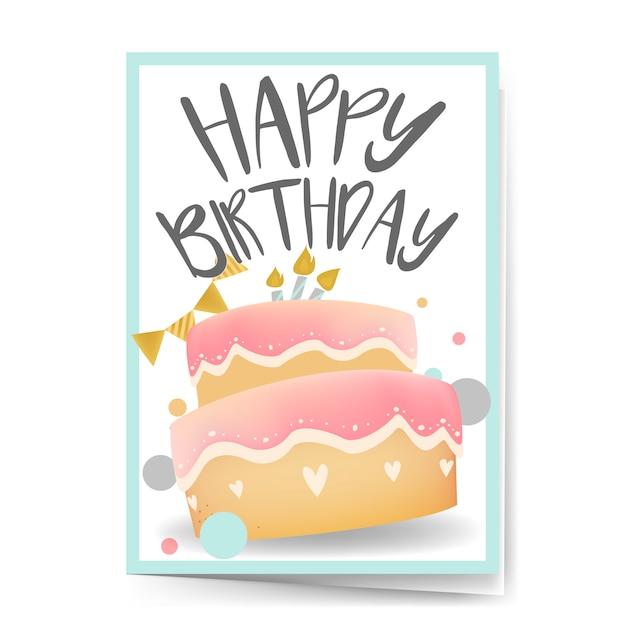 Happy birthday card design vector Free Vector
