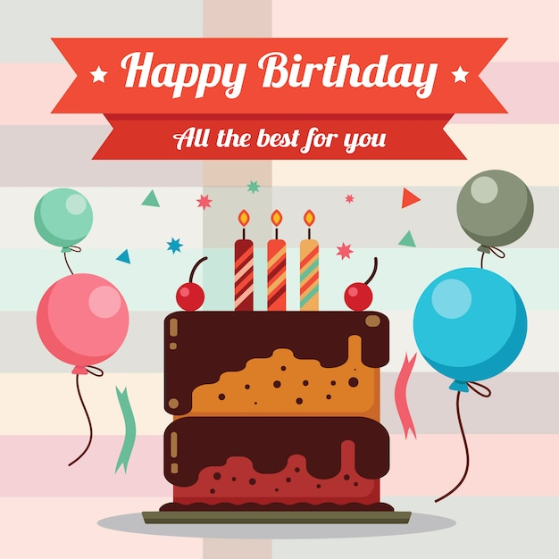 Happy Birthday Card Design With Birthday Cake Vector Premium Download