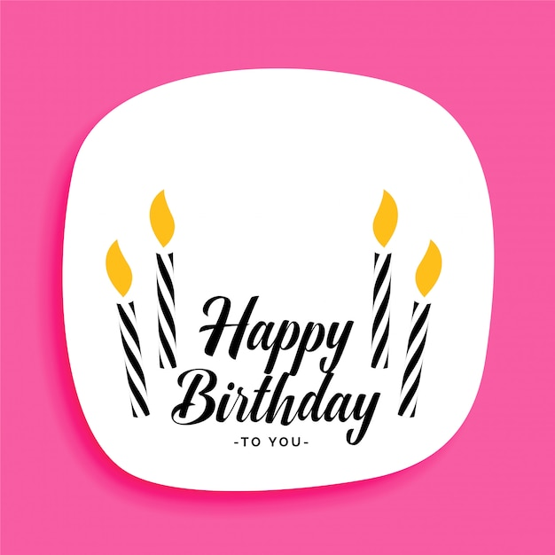 Happy Birthday Card Design With Candles And Text Space Vector Free