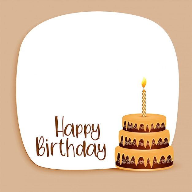 Happy Birthday Card Design With Text Space And Cake Free Vector