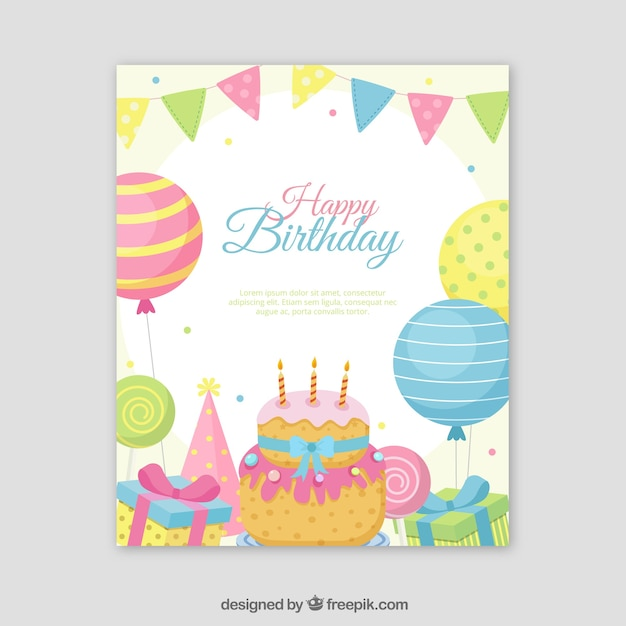 Carta di buon compleanno in stile piatto Vettore gratuito