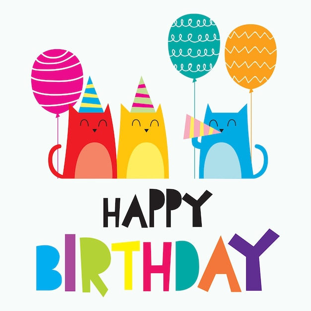 happy birthday card for children colorful cute and funny card rh freepik com birthday vector ai birthday vector icon free