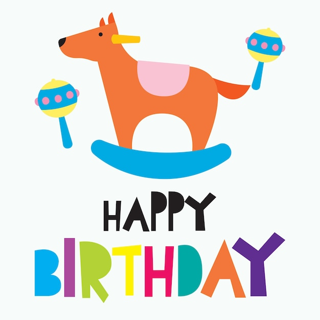 Happy Birthday Card For Children Colorful Cute And Funny Card