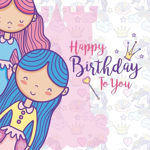 Happy Birthday Card For Girls Vector Premium Download