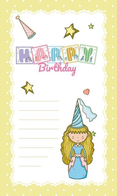 Happy Birthday Card For Little Girl Vector Premium Download