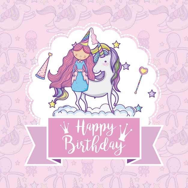 Happy birthday card for girls Premium Vector