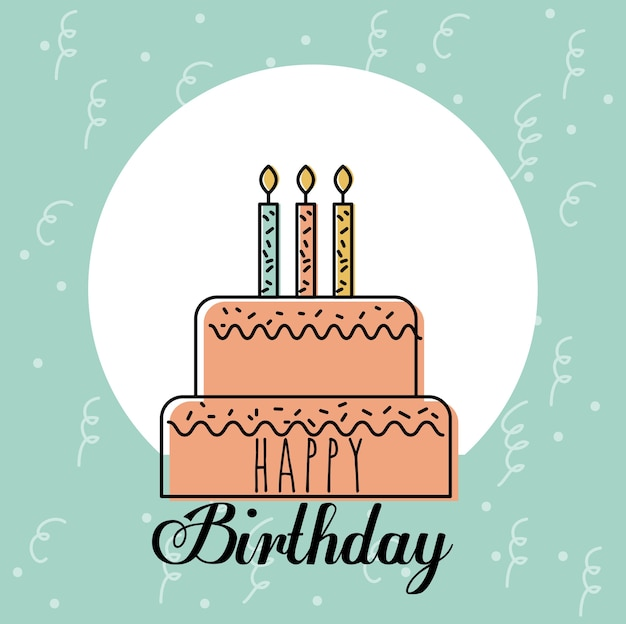 Happy Birthday Card Greeting Sweet Cake Candles Decoration Vector