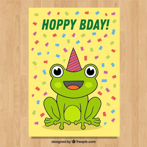Carta di buon compleanno in mano stile disegnato Vettore gratuito