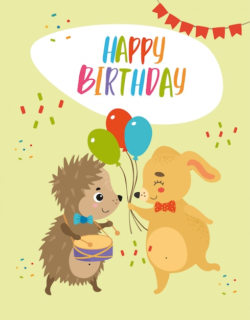 Happy Birthday Card Hedgehog And Dog Vector Free Download