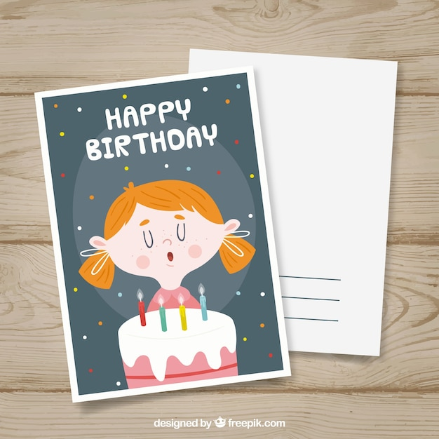 Happy birthday card in hand drawn style