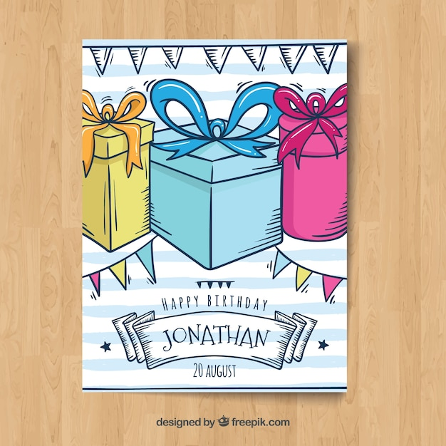 Happy birthday card in hand drawn style Free Vector