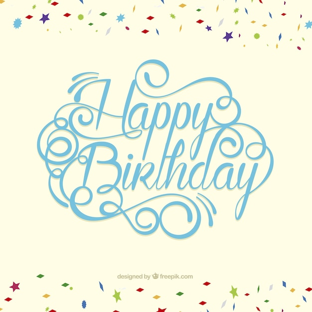 Happy Birthday Card Freepik ~ Happy birthday card in lettering style vector free download