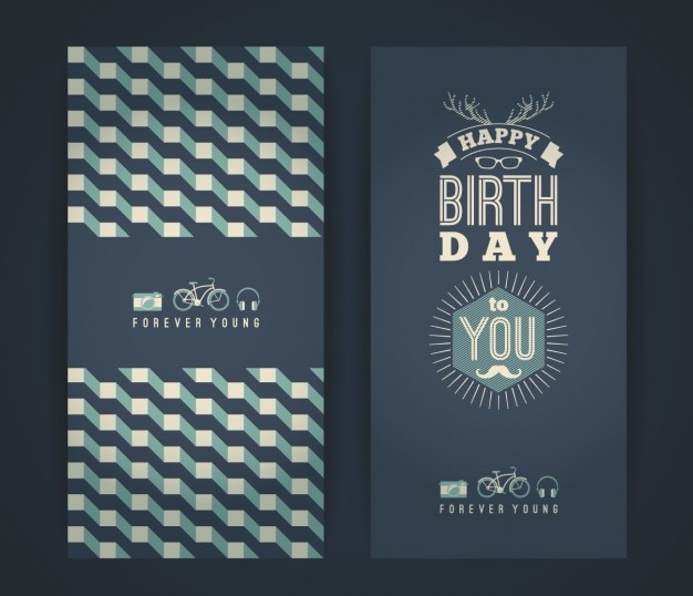 Happy Birthday Card Freepik ~ Happy birthday card in vintage style vector free download