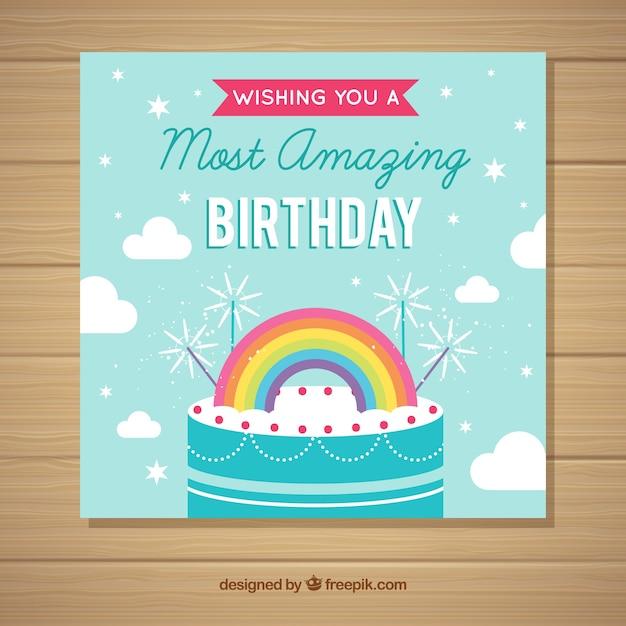 Happy birthday card invitation in flat\ style