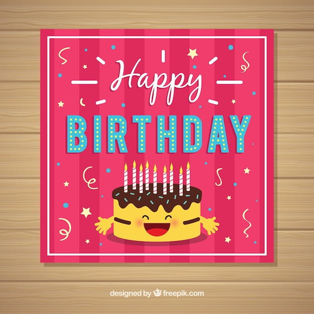 Happy birthday card invitation in flat\ style