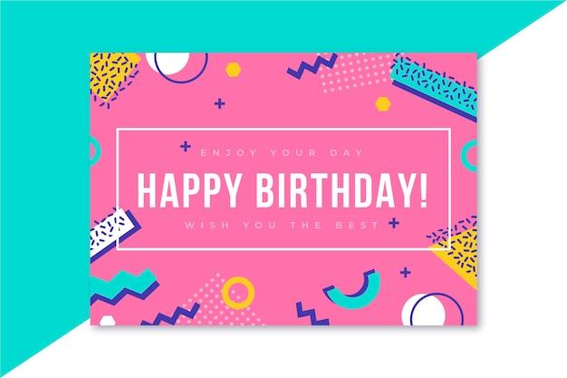 Открытка с днем рождения мемфис дизайн Бесплатные векторы