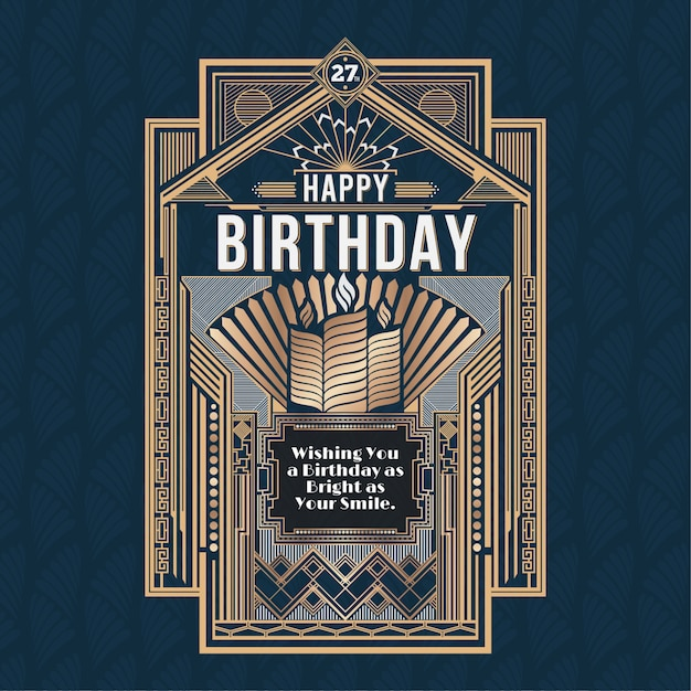 Happy birthday card, retro art deco vector design golden Premium Vector