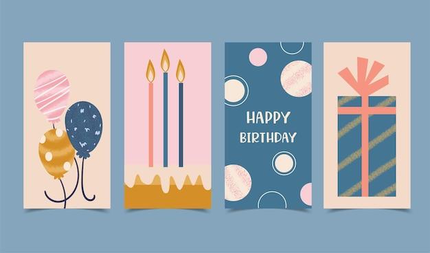 キャンドル、ケーキ、ギフトボックス、風船で飾られたお誕生日おめでとうカードセット 無料ベクター