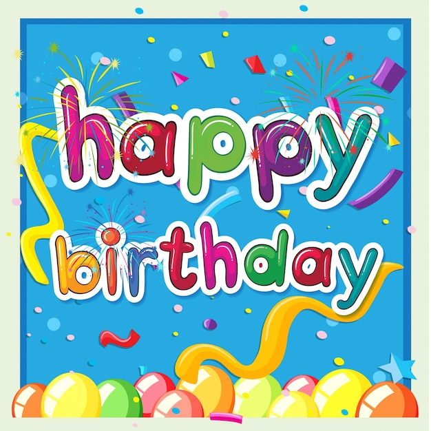 Happy birthday card template with balloons in background Vector – Happy Birthday Card Template Free Download