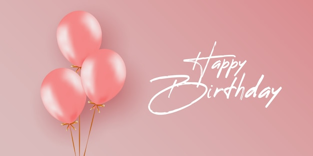 Admirable Happy Birthday Card Template With Balloons Premium Vector Personalised Birthday Cards Bromeletsinfo