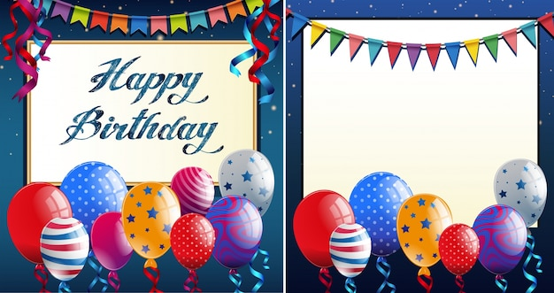 Happy Birthday Card Template With Blue Border And Colorful