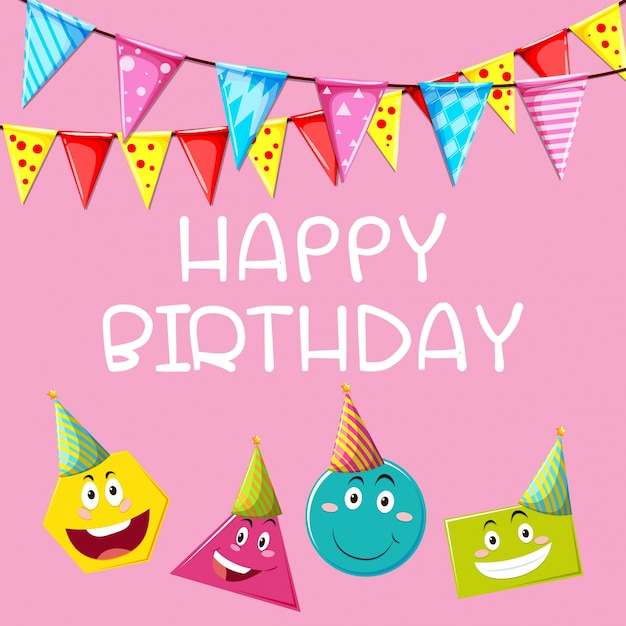 Happy Birthday Card Template With Different Shapes Vector | Free