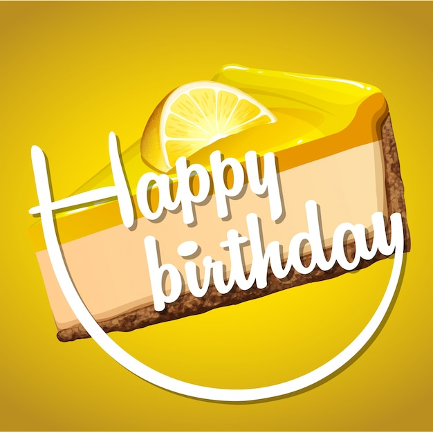 Happy birthday card template with lemon cheesecake Vector Free