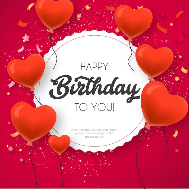 Happy birthday card template with lovely balloons Free Vector