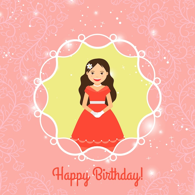 Happy birthday card template with princess Premium Vector