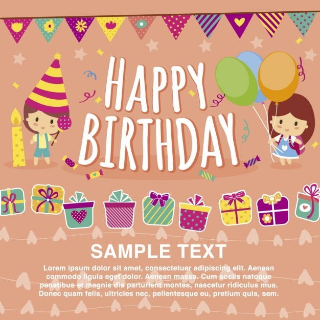 Merveilleux Happy Birthday Card Template Free Vector