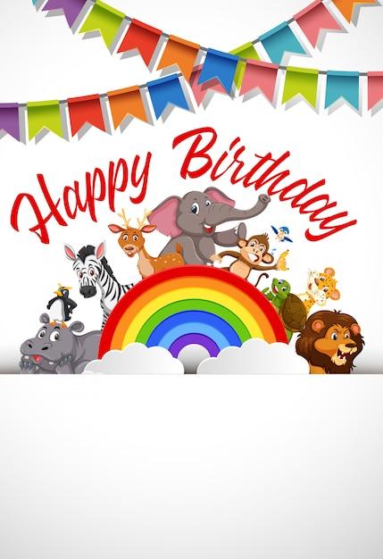 A happy birthday card template Premium Vector