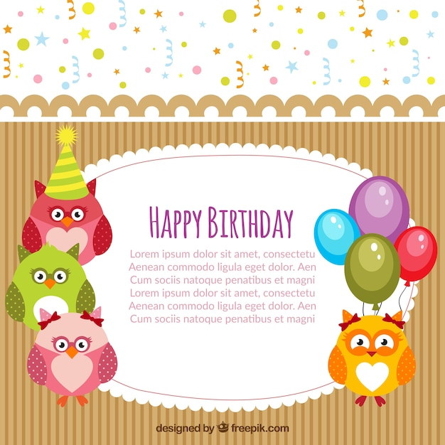 Delicieux Happy Birthday Card Template Free Vector
