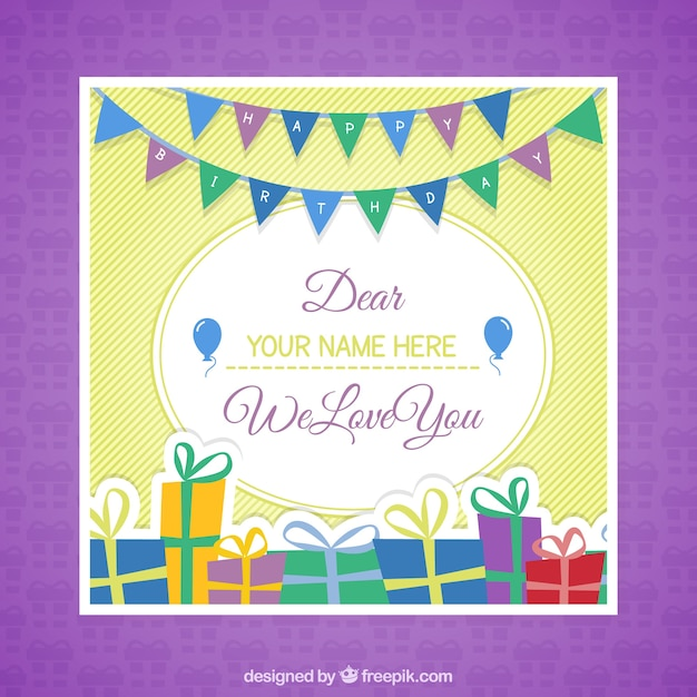 Happy birthday card template Vector – Happy Birthday Card Templates Free