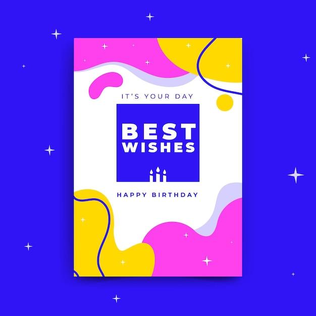 Шаблон поздравительной открытки с днем рождения Бесплатные векторы