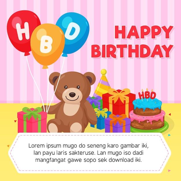 Happy birthday card template vector premium download happy birthday card template premium vector voltagebd Choice Image
