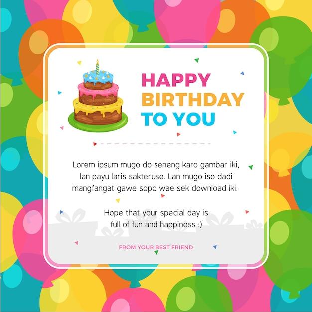premium vector  happy birthday card template