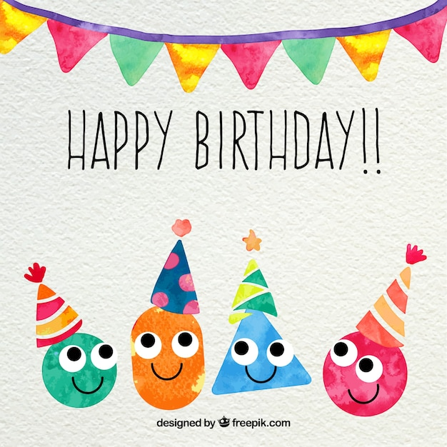 Happy Birthday Card In Watercolor Style Vector