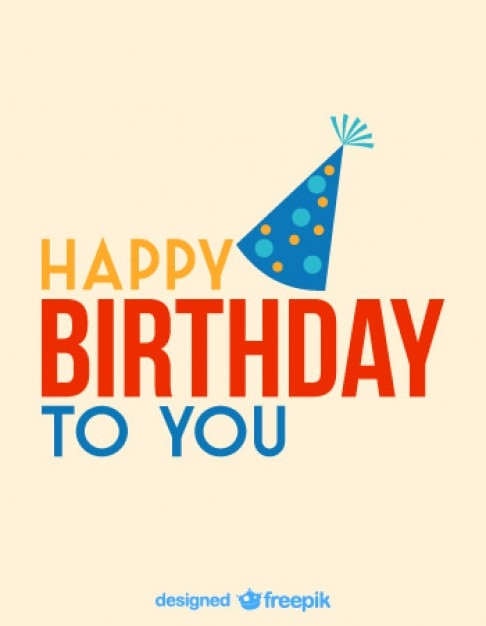 Happy Birthday Card With A Blue Party Hat Vector Free Download