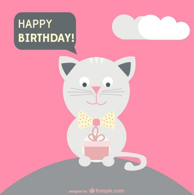 Happy Birthday Card With A Cat Holding A Present Vector Free Download