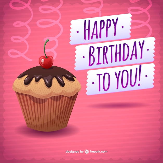 Happy Birthday Card Freepik ~ Happy birthday card with a chocolate cupcake vector free download