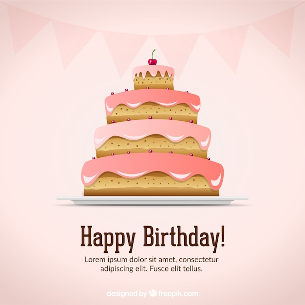 Happy birthday card with a fabulous cake Vector Free Download