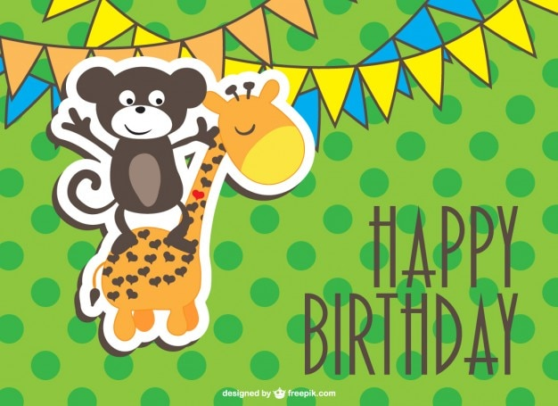 Happy birthday card with a monkey and a giraffe Free Vector
