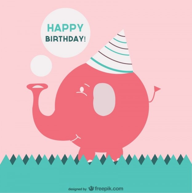 Birthday Cards Vector ~ Happy birthday card with a pink elephant vector free download