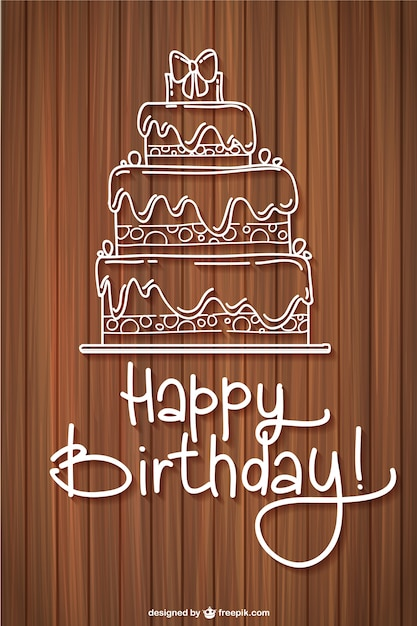 Happy Birthday Card Freepik ~ Happy birthday card with a sketched cake vector free download