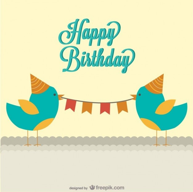 Happy Birthday Editable Card Free Vector Download 15 733: Happy Birthday Card With A Two Birds Holding A Garland