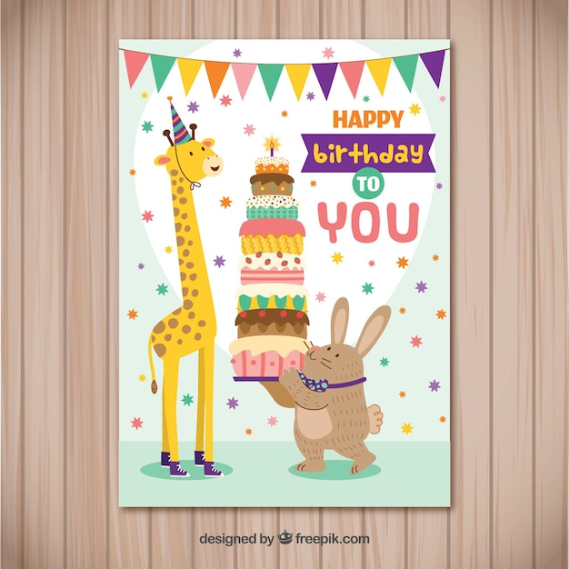 Happy Birthday Card With Animals In Flat Style Vector Free Download