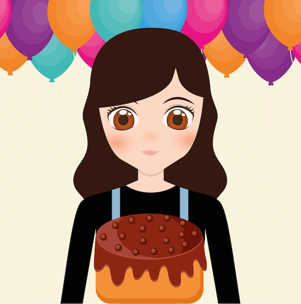 Happy Birthday Card With Anime Girl And Cake Vector Premium Download